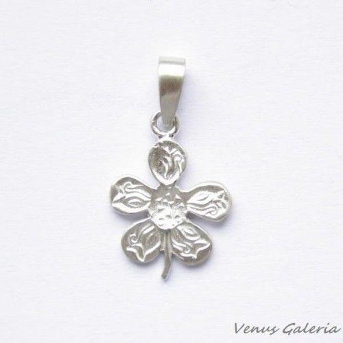 Wisiorek srebrny - Kwiat księżycowy mini biały