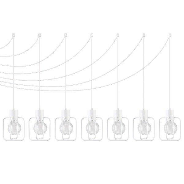 Lampa wisząca podwieszana AURA kwadrat VII biała połysk