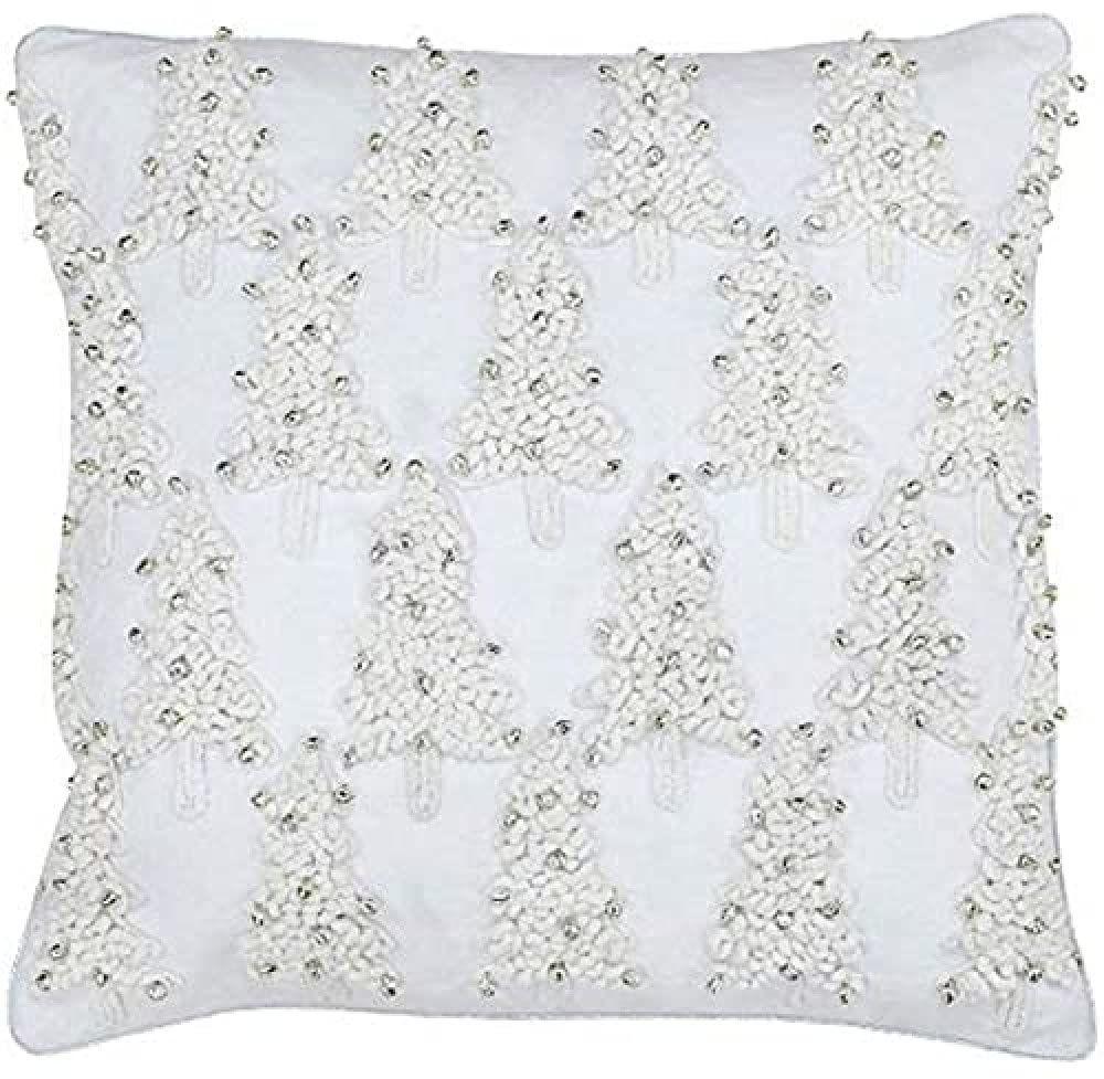 Riva Paoletti Boże Narodzenie wypełniona piórami poduszka - biała - haftowane zszywane drzewo wzór - Detale Jingle Bell - srebrne obszyte krawędzie - 100% bawełna - 45 x 45 cm (18 cali x 18 cali)