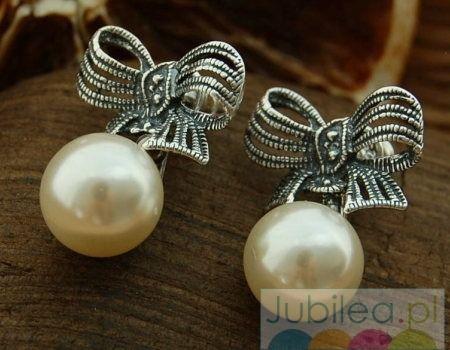 Kokarda - srebrne kolczyki z perłami