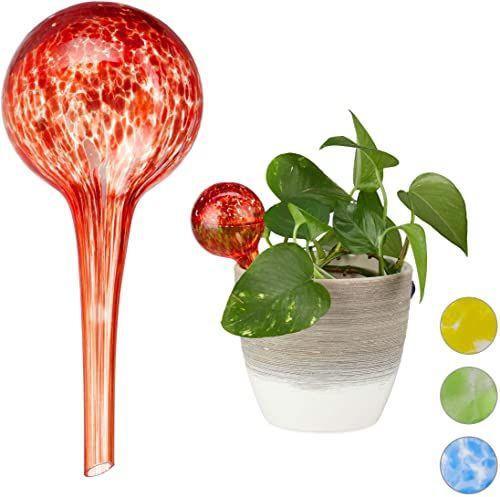Relaxdays Kula do nawadniania zestaw 2 sztuk, dozowane nawadnianie roślin i kwiatów, pomoc w podlewaniu w biurze, na urlopie, Ø 6 cm, szkło, czerwone, 2 sztuki