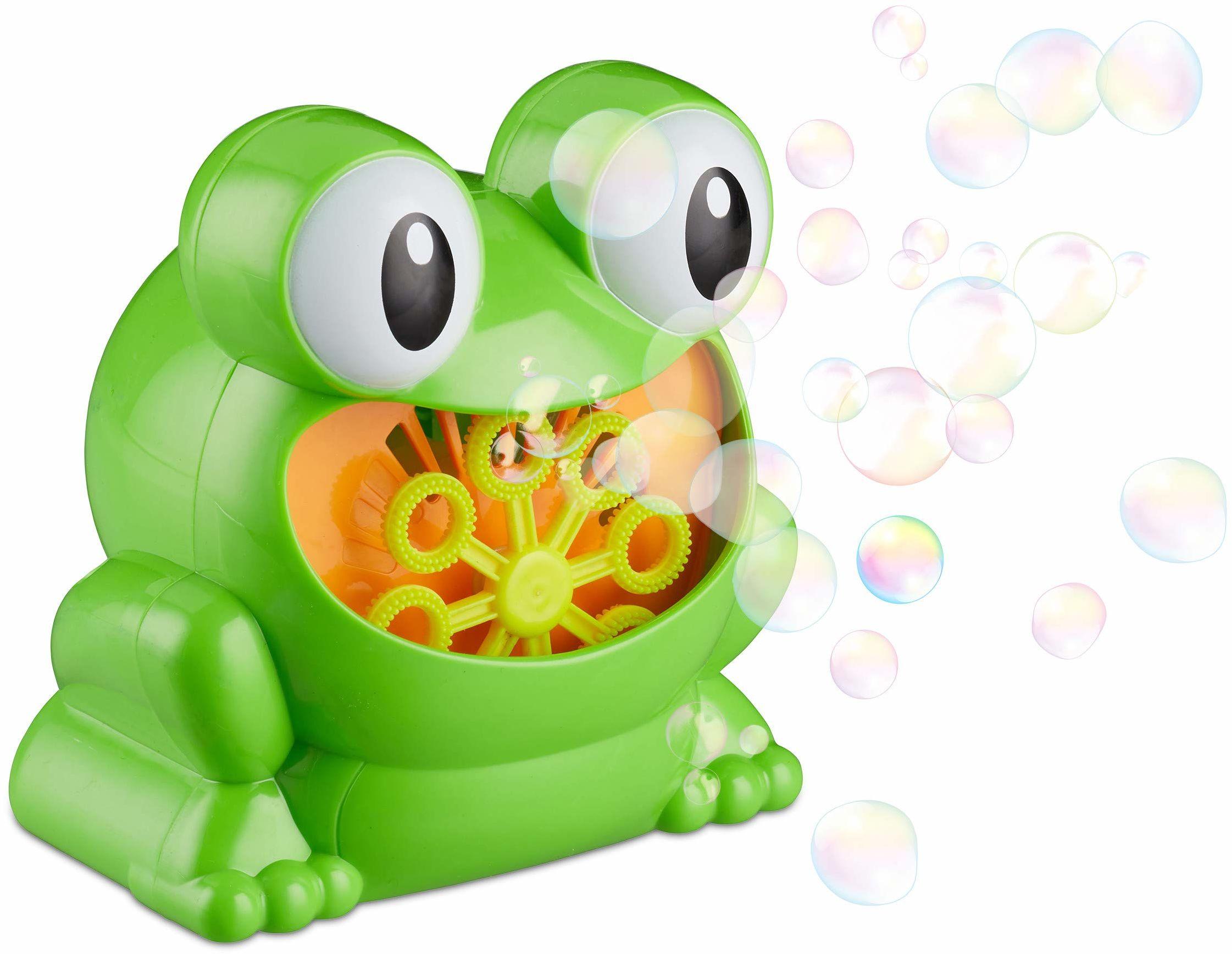 """Relaxdays 10024940 maszyna do baniek mydlanych """"Frosch"""" 13 cm, do baniek mydlanych na urodziny dziecka i ślub, mini maszyna do baniek mydlanych, zielona"""