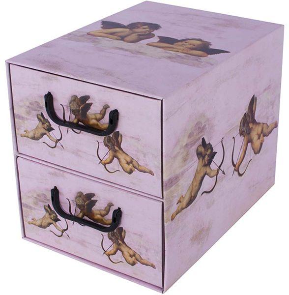 Pudełko kartonowe 2 szuflady pionowe ANIOŁKI RÓŻOWE