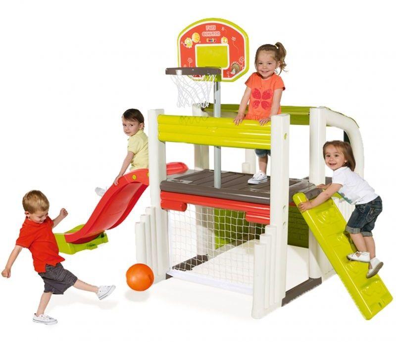 Wielofunkcyjny plac zabaw ze zjeżdżalnią, domkiem i koszykówka
