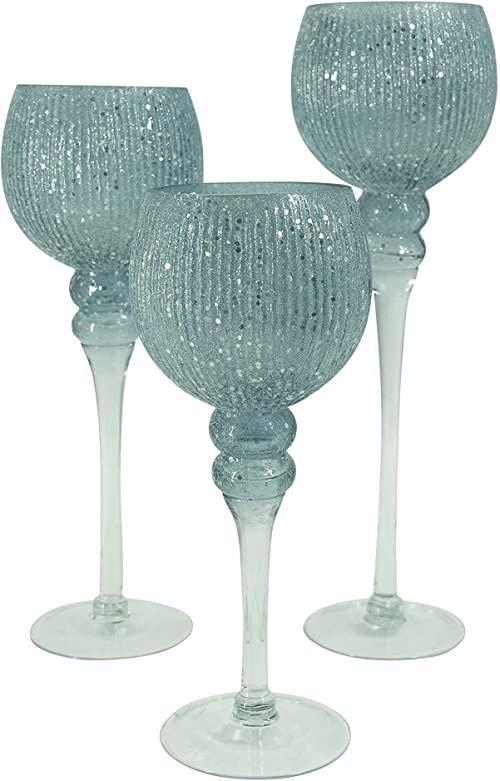NOOR Living Design Products 10085 świecznik szklany, niebiesko-szary, L