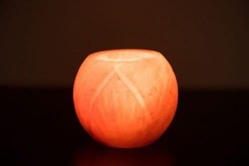 Świecznik solny szlifowany ze wzorkiem
