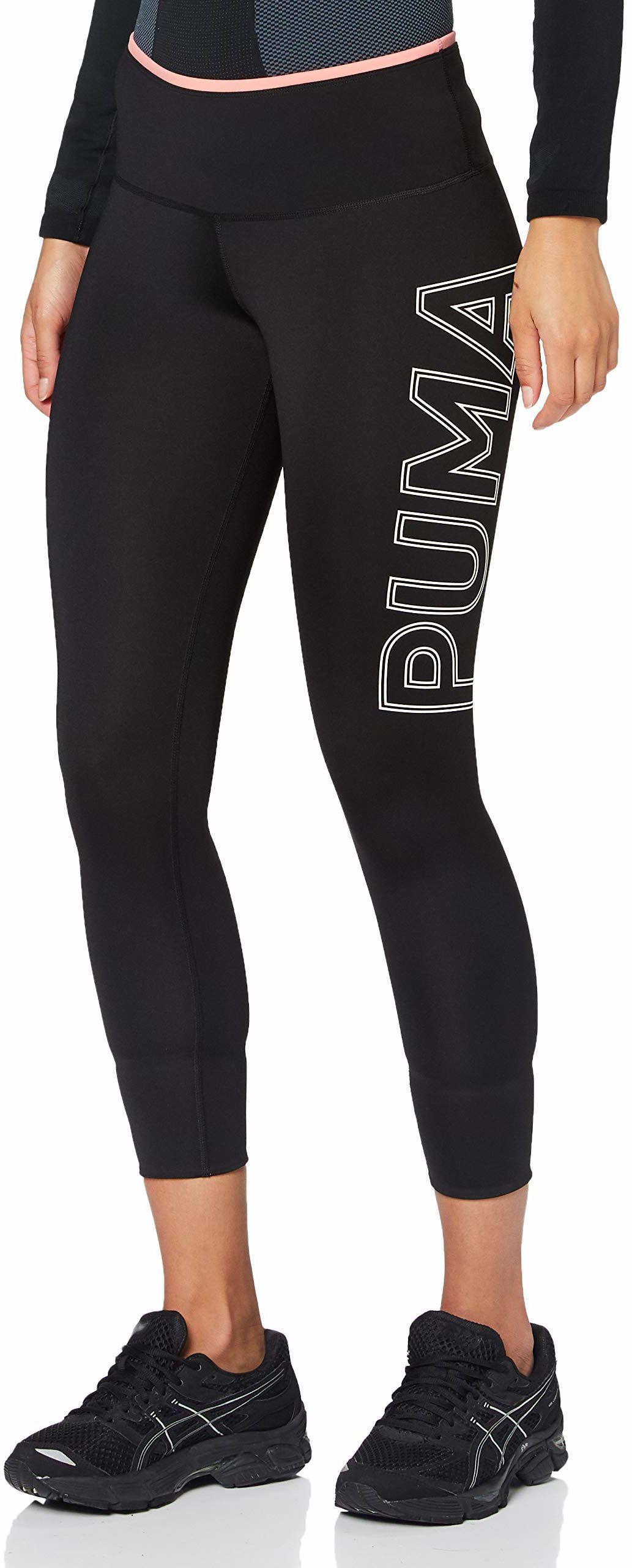 PUMA Damskie nowoczesne sportowe składane legginsy 7/8 Puma Black Salmon Rose XS