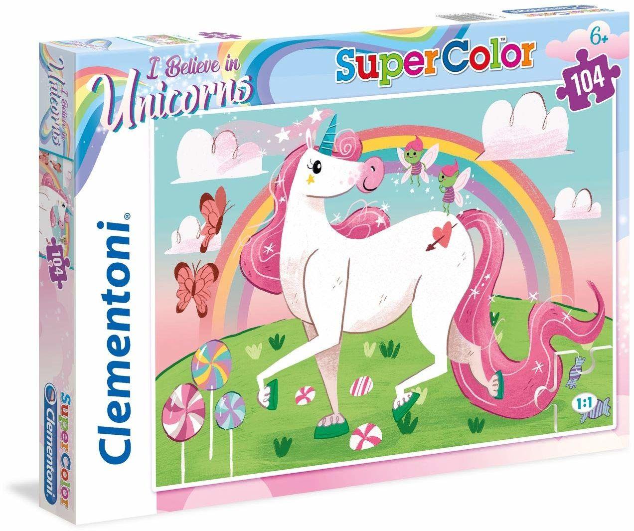Clementoni 27109 Clementoni-27109-Supercolor-Unicorno Brilliant-104 Pièces 27109-Supercolor Jednorożec Genialny - Puzzle 104 sztuk, wielokolorowy