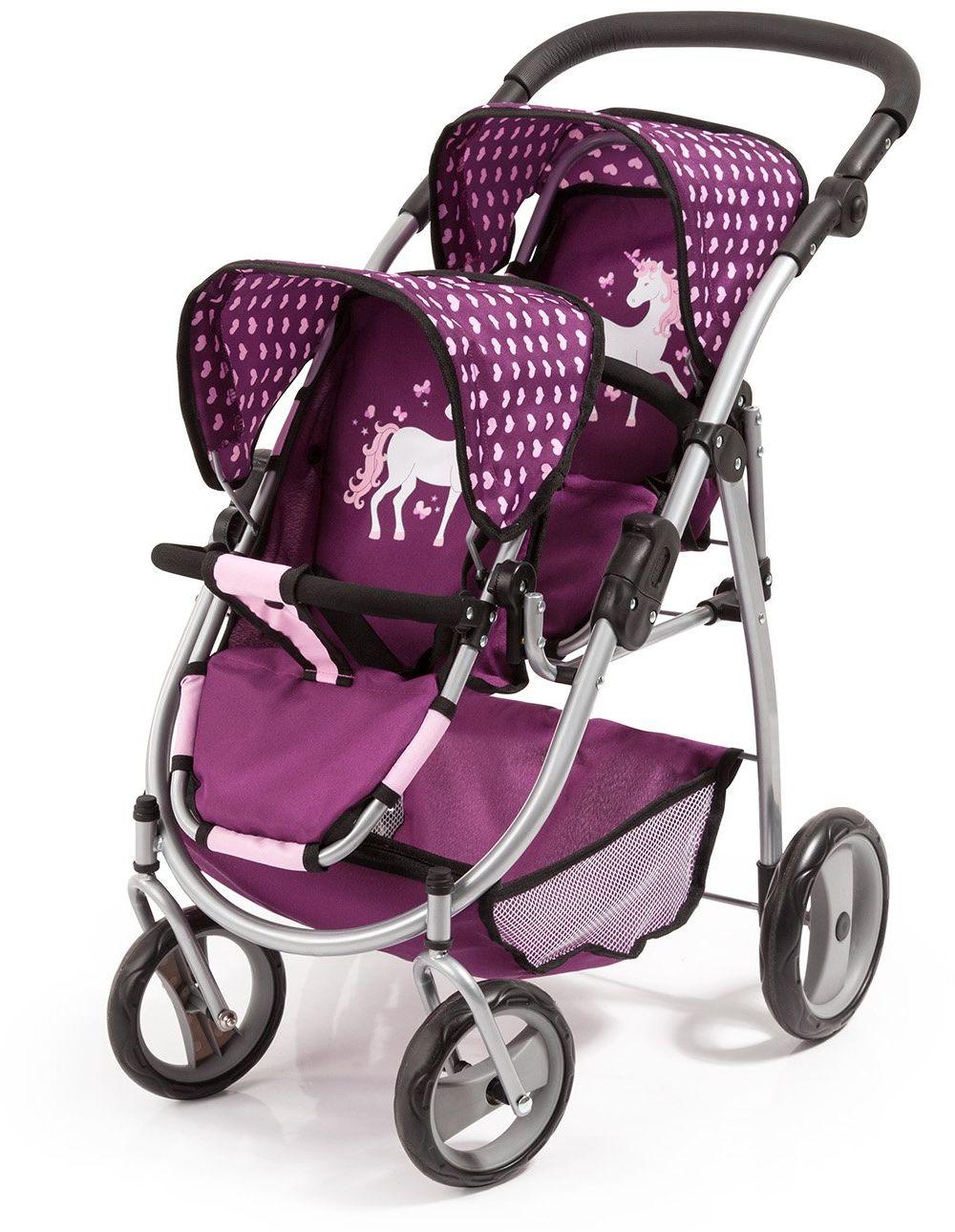 Bayer Design 26537AA wózek dziecięcy z podwójnym tandemem, składany, uchwyt z regulacją wysokości, obrotowe koła, pod koszykiem na zakupy, różowy, fioletowy