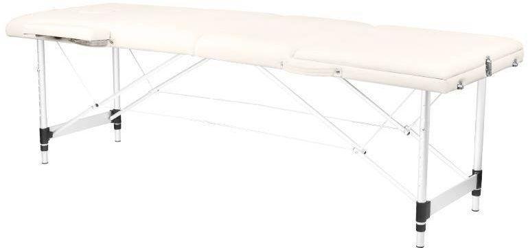 Stół składany do masażu aluminiowy komfort 3 segmentowy cream