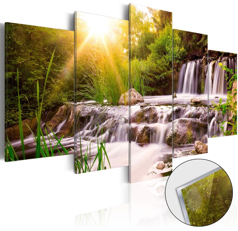 Obraz na szkle akrylowym - leśny wodospad [glass]