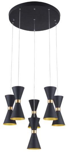 Maxlight Cornet P0331 lampa wisząca metal czarny klosze w kształcie klepsydry ze złotym pierścieniem 6x5W LED 3000K 50cm
