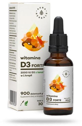 Aura Herbals Witamina D3 forte (2000IU) MCT Oil krople 30 ml