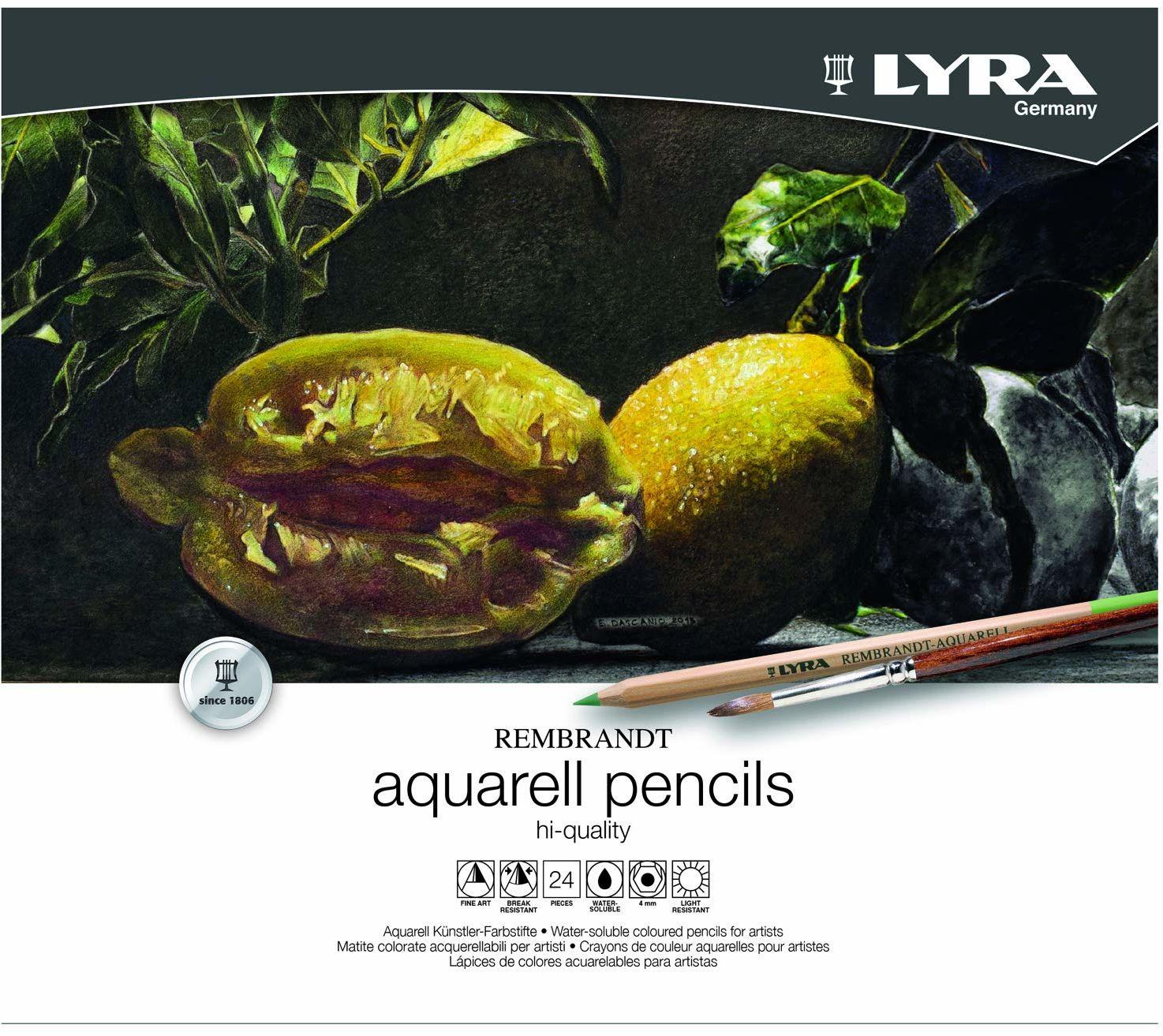LYRA 2011240 Rembrandt akwarela  metalowe etui z 24 kredkami akwarelowymi, posortowane pod względem koloru