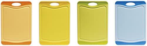 Excelsa Security deska do krojenia antybakteryjne tworzywo sztuczne, pomarańczowa/żółta/zielona/jasnoniebieska, 29 x 20 x 2 cm