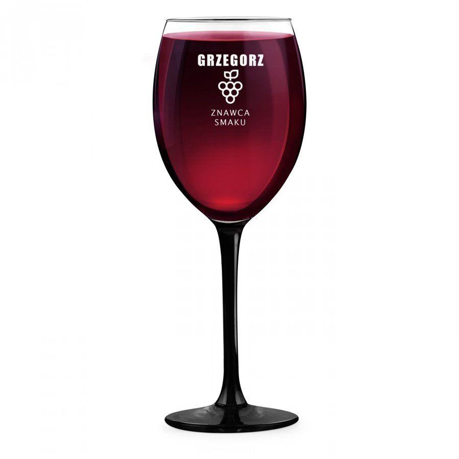 Kieliszek grawerowany do wina z czarną nóżką onyx dla winiarza
