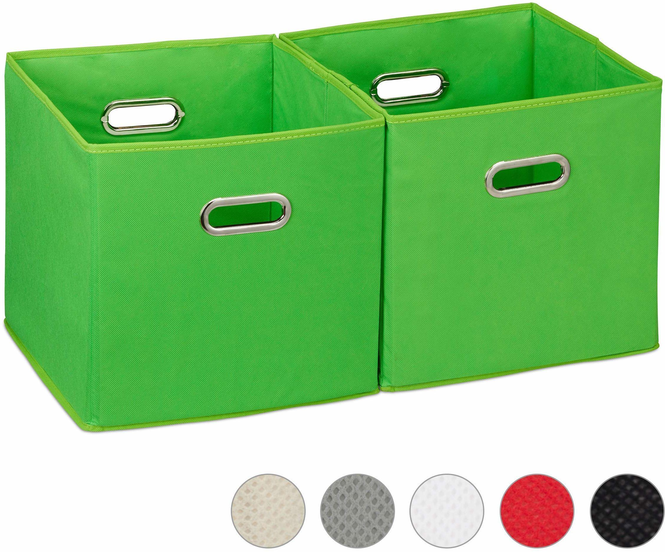 Relaxdays Pudełko do przechowywania zestaw 2 szt. kosz regałowy bez pokrywki, z uchwytem, składane, pudełko z materiału kwadratowe, 30 cm, zielony