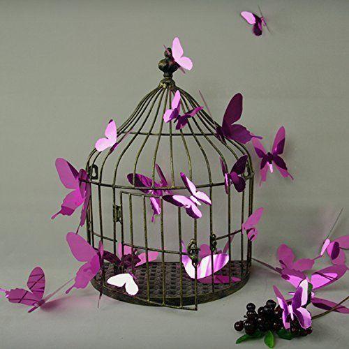 12 x 3D motyl naklejka na ścianę tatuaż ścienny naklejka na ścianę  liliowy efekt lustra
