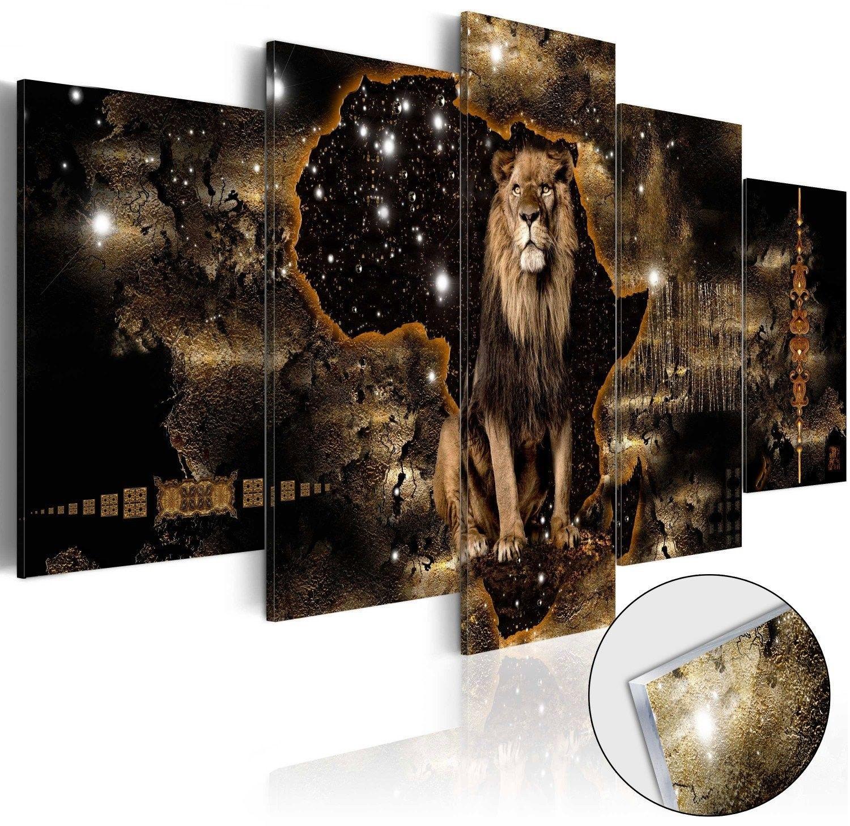 Obraz na szkle akrylowym - złoty lew [glass]