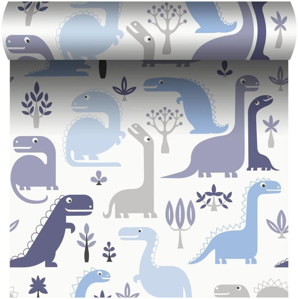 Tapeta dla dzieci Dino niebieska winylowa na flizelinie