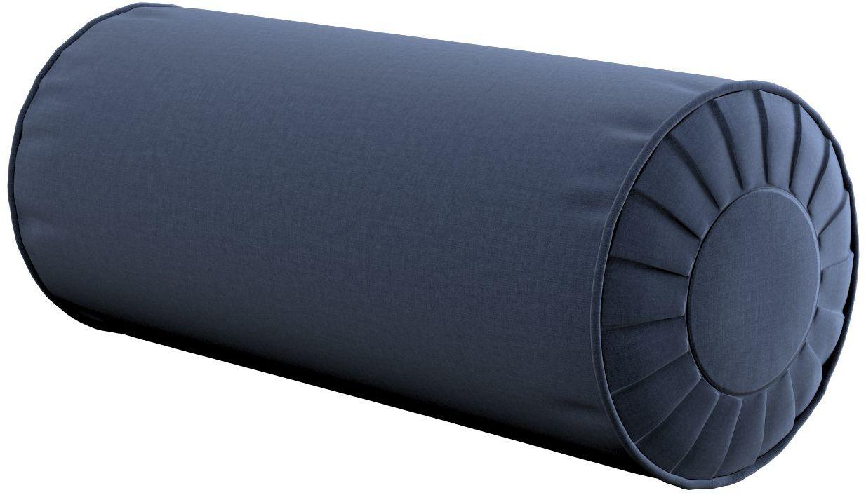 Poduszka wałek z zakładkami, granatowy welwet, Ø20  50 cm, Ingrid