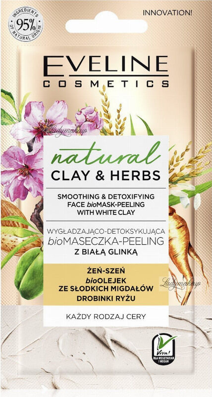 Eveline Cosmetics - Natural Clay & Herbs - Smoothing & Detoxifing Face bioMask-Peeling With White Clay - Wygładzająco-detoksykujaca biomaseczka-peeling z białą glinką - 8 ml
