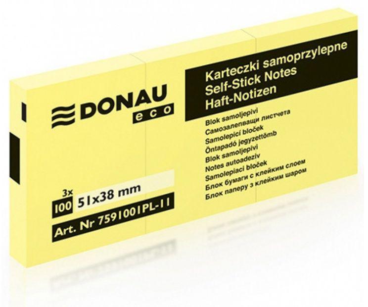 Karteczki samoprzylepne DONAU Eco (38 mm x 51 mm) - 3 bloczki (DP 7591)