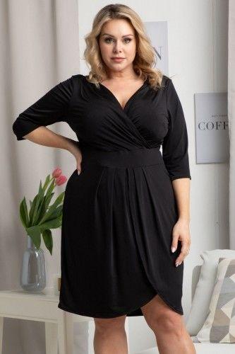 Sukienka mała czarna kopertowa wieczorowa ROXI czarna