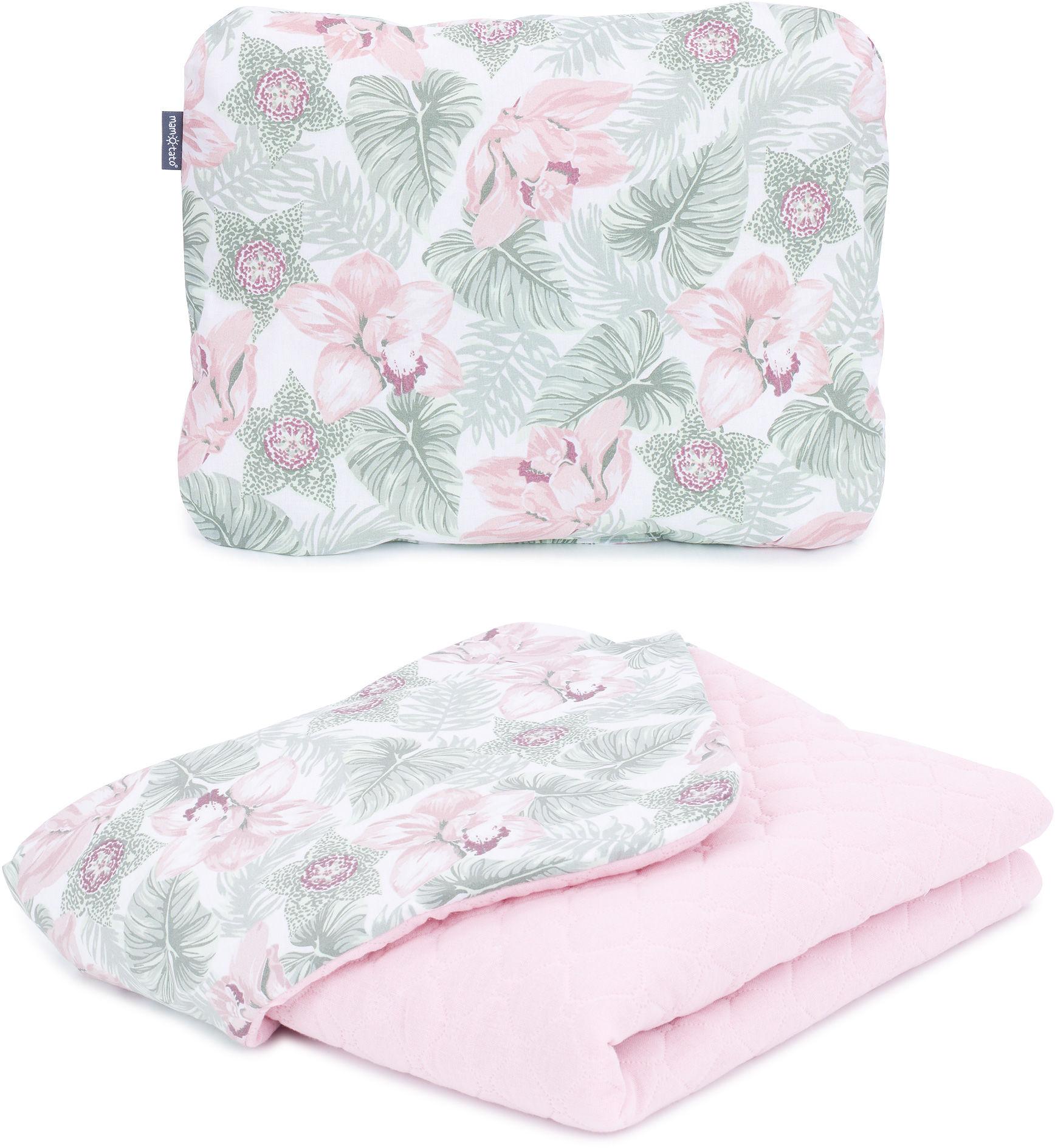 MAMO-TATO KOMPLET Kocyk dla dzieci i niemowląt 75x100 - MUŚLIN PIK + poduszka - Kwiaty w liściach / jasny róż - ocieplony