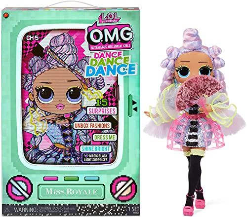 LOL Surprise OMG Dance Dance Dance Lalka Modowa Miss Royale z 15 Niespodziankami, Ubraniami, Światłem UV, Modnymi Akcesoriami, Butami, Stojakiem na Lalki i Opakowaniem TV. Dla Dzieci w Wieku 4+