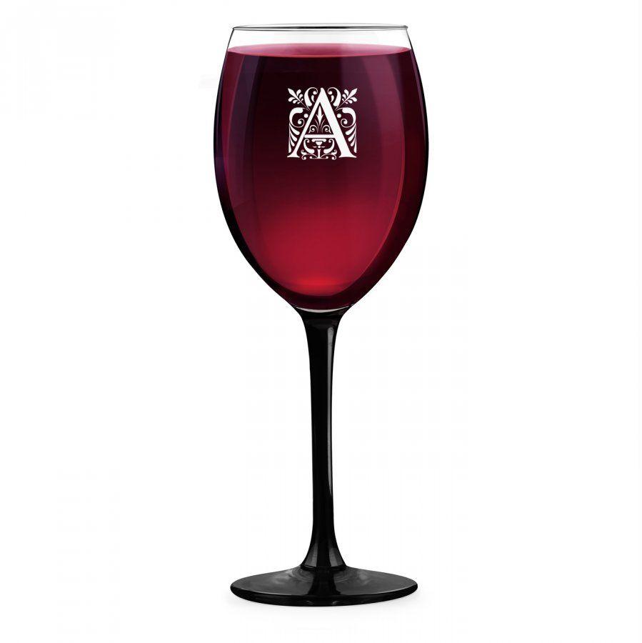 Kieliszek grawerowany do wina z czarną nóżką onyx inicjał