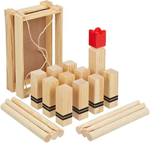 Relaxdays 10036126 gra na wikingach, drewniana gra do rzucania na zewnątrz, do ogrodu, 21 figurek, dzieci i dorosłych, gra kempingowa, jasnobrązowa