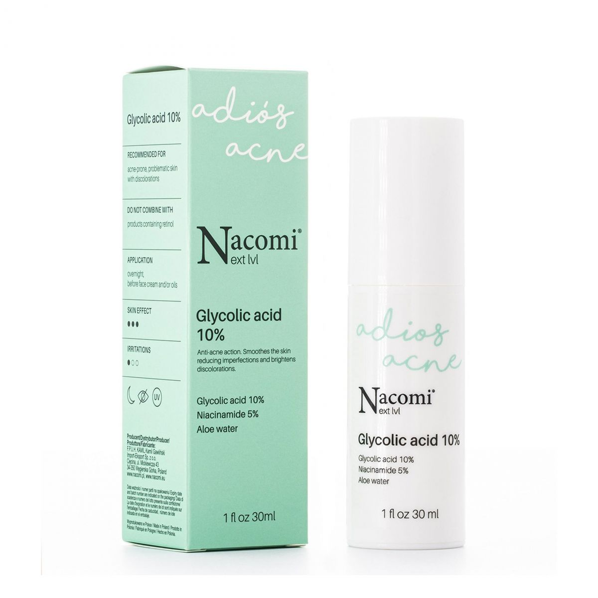 Serum kwas glikolowy 10% - 30ml - Nacomi