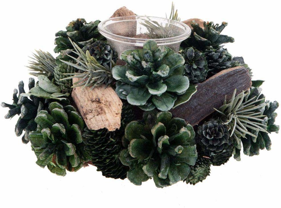 Świecznik nat. zielone szyszki sosnowe 9 x 19 cm