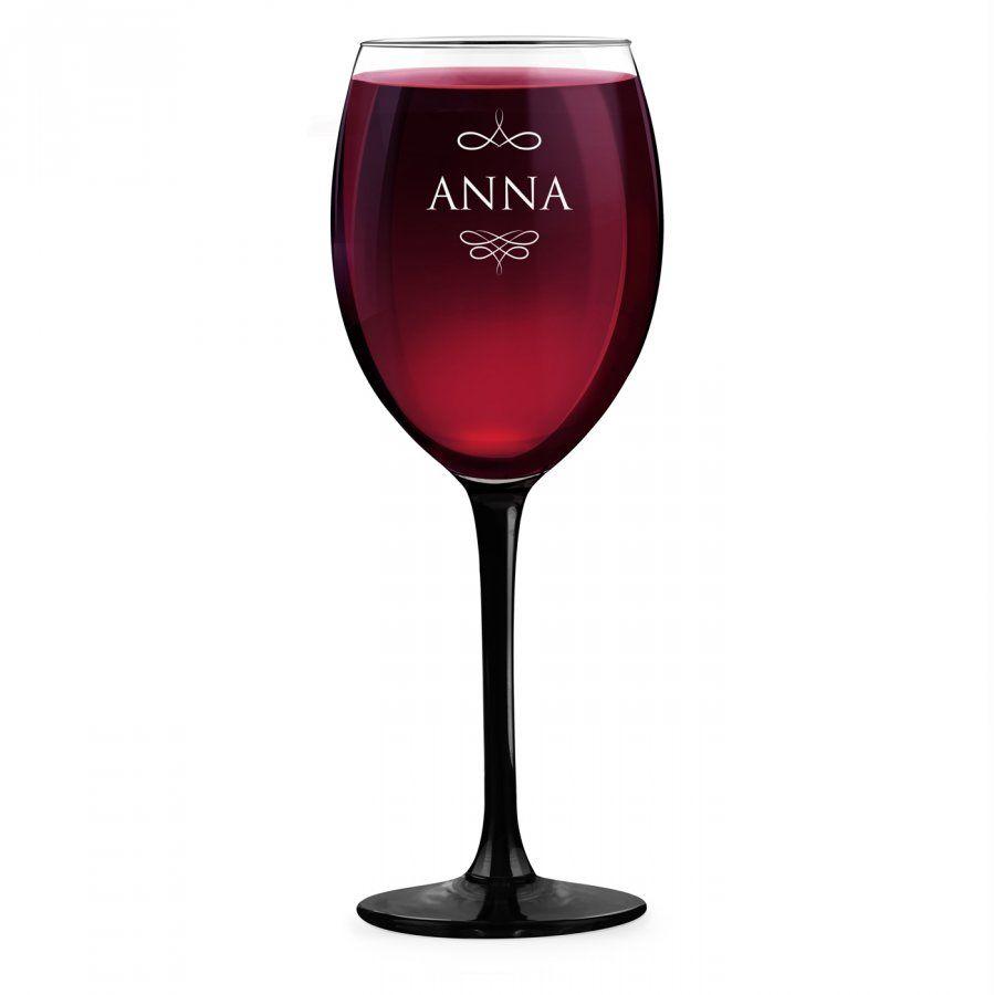 Kieliszek grawerowany do wina z czarną nóżką onyx dla niej na imieniny