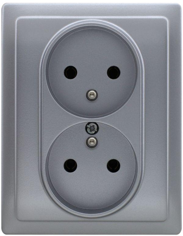 VENA Gniazdo podwójne z/u aluminium 514036