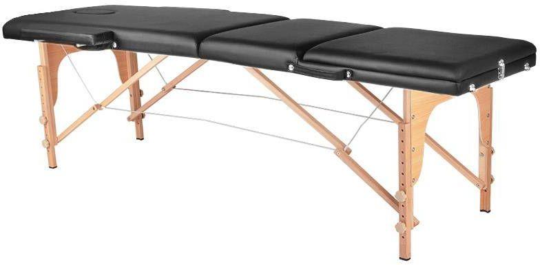 Stół składany do masażu wood komfort 3 segmentowe czarny
