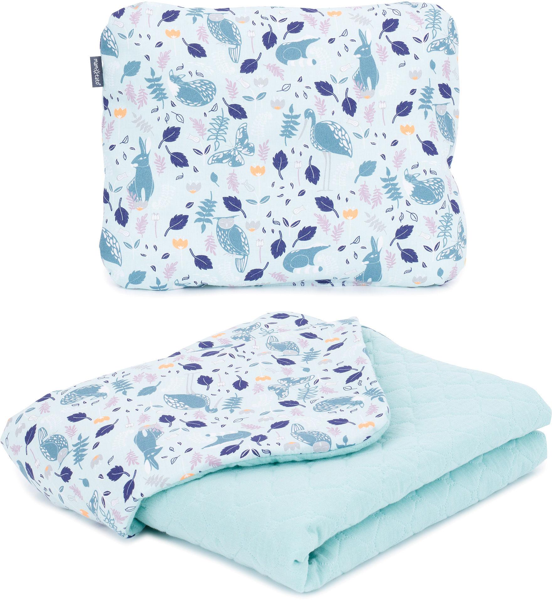 MAMO-TATO KOMPLET Kocyk dla dzieci i niemowląt 75x100 - MUŚLIN PIK + poduszka - Premium - Czaple na oceanie / jasna szałwia - ocieplony