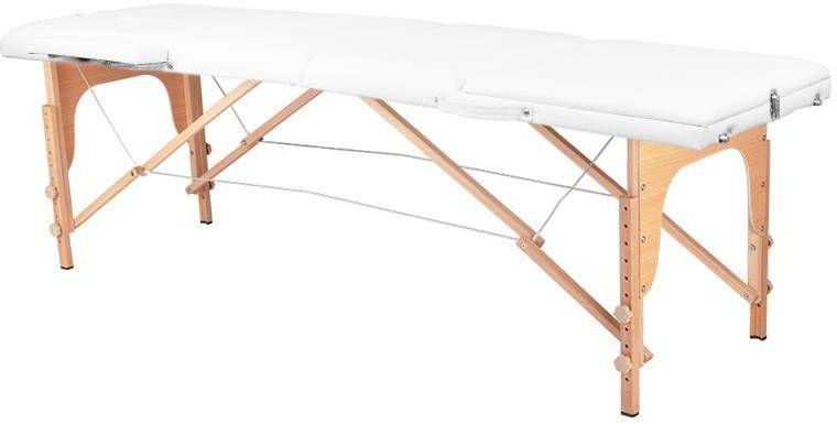 Stół składany do masażu wood komfort 3 segmentowe biały