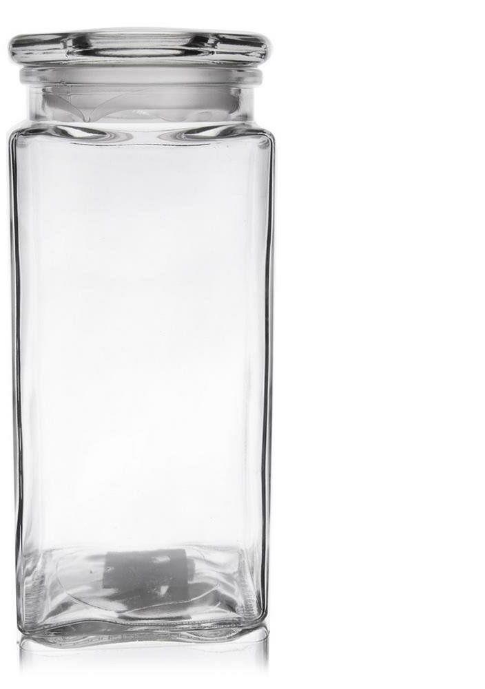Pojemnik szklany kuchenny słój słoik kwadratowy z pokrywką 1,8 l retro