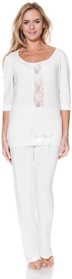 Damska bambusowa piżama SERENA Kremowy XL