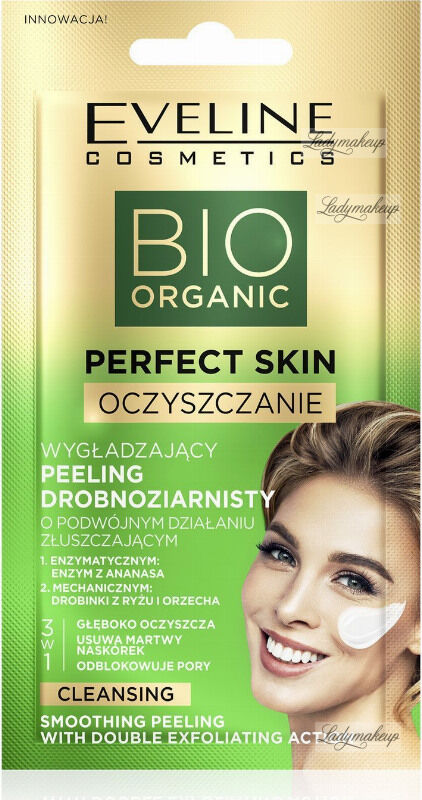 Eveline Cosmetics - BIO ORGANIC PERFECT SKIN - Smoothing Peeling With Double Exfoliating Action - Wygładzający peeling drobnoziarnisty o podwójnym działaniu złuszczającym - 8 ml