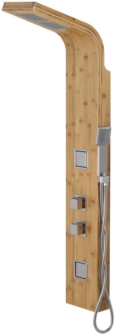 Corsan Bao panel natryskowy z termostatem chrom drewno bambusowe B-022TBCH
