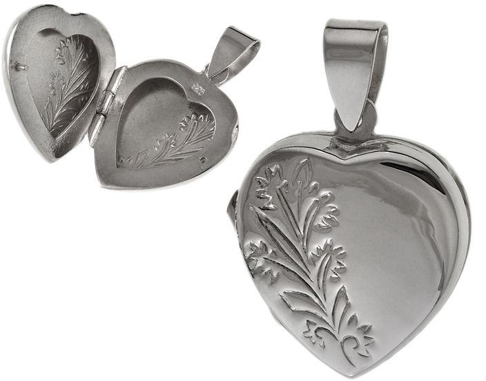Elegancki srebrny otwierany wisiorek puzderko serce serduszko kwiaty flowers srebro 925 W0406