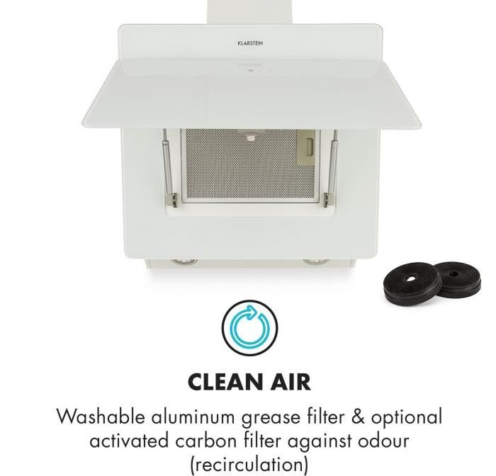 Klarstein Aurica 60 Okap kuchenny 60 cm Wydajność wyciągu powietrza: 610 m/h LED panel dotykowy szkło kolor biały