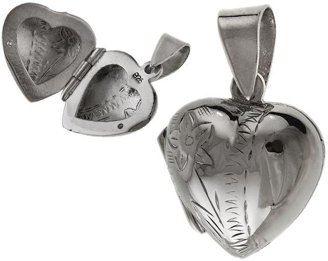 Elegancki srebrny otwierany wisiorek puzderko serce serduszko kwiaty flowers srebro 925 W0408