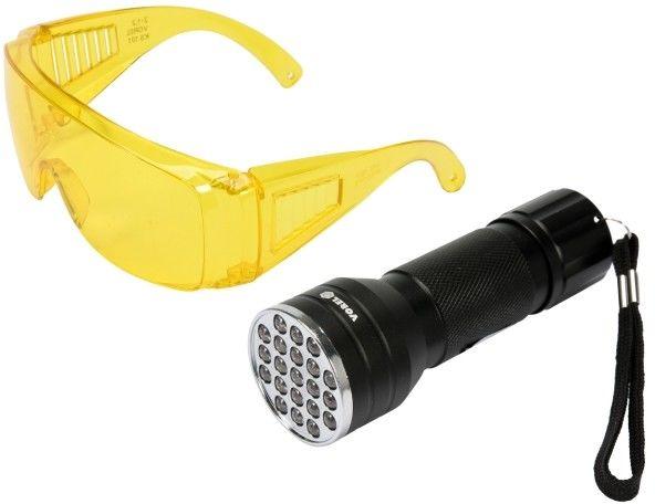 Zestaw Vorel latarka UV 21 LED i okulary