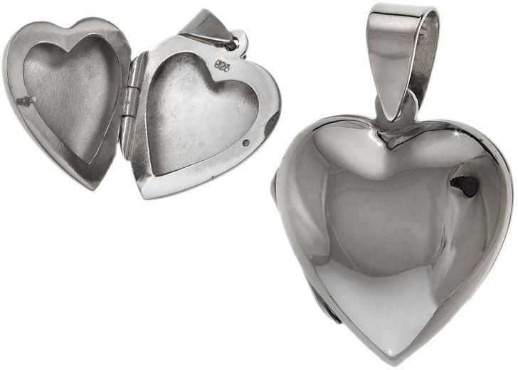 Elegancki srebrny otwierany wisiorek puzderko gładkie serce serduszko heart połysk srebro 925 W0409