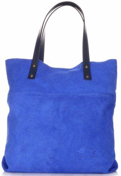 Torebki Skórzane Shopper Bag Włoskiej Marki VITTORIA GOTTI Jeansowe