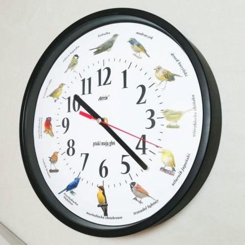 Zegar z głosami ptaków #1 plastik czarny